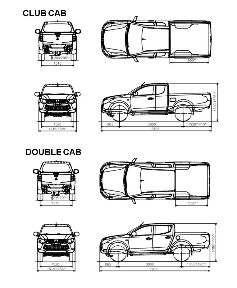 Mitsubishi L200 Les dimensions