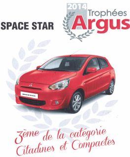 La Mitsubishi SPACE STAR récompensée lors des Trophées de l'Argus 2014