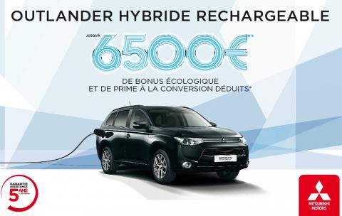 Outlander Hybride rechargeable, jusqu'à 6 500€ de bonus écologique et de prime à la conversation déduits